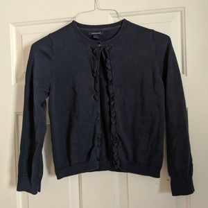 Girls Navy Lands End Ruffle Sweater